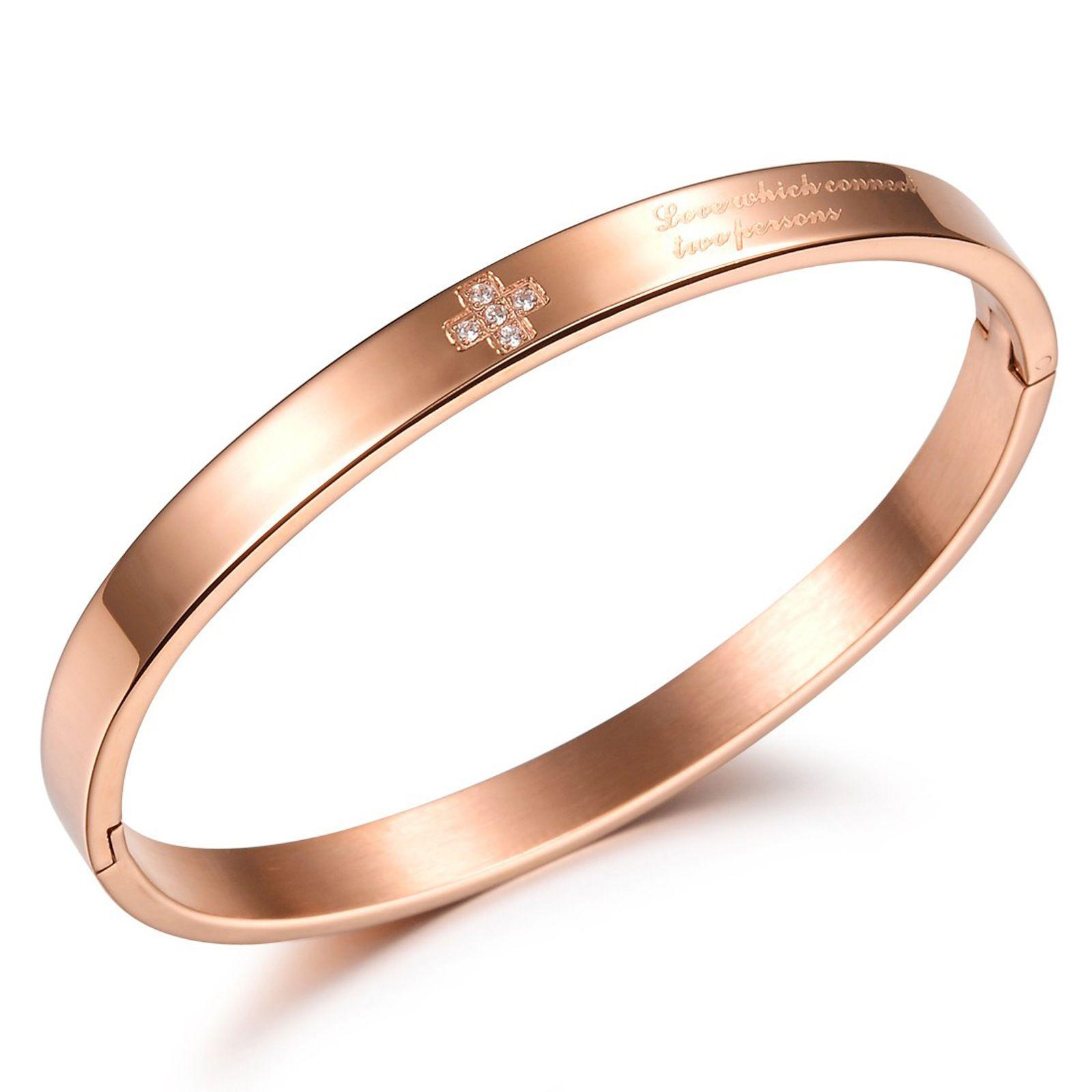 Regali del giorno di San Valentino * Braccialetti in acciaio inossidabile 316L da donna Braccialetti della signora con i cristalli brillanti dei cristalli della fidanzata Gold Gold