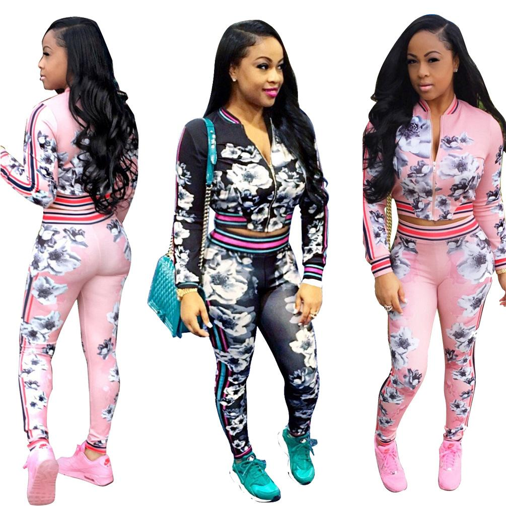 2018 Spring and Autumn Fashion New 2 Piece Set Women Sweatsuits Casual Printed Tracksuit Set Pink Long Sleeve Cropped Jacket and Long Pants