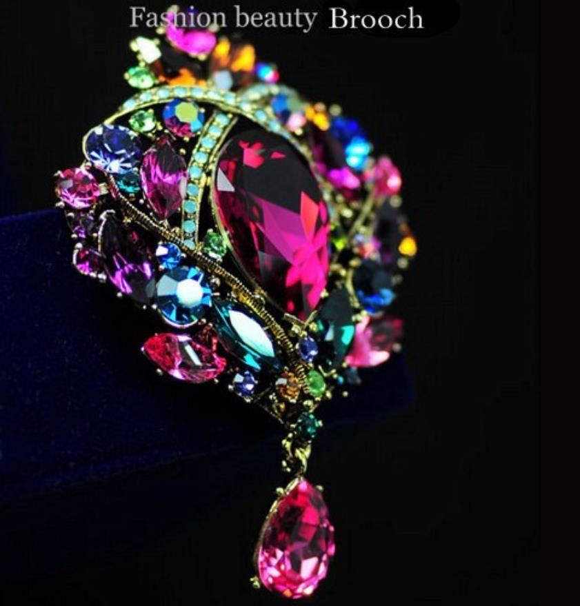 Elegante Bronze plattiert große wunderschöne bunte Strass Crystal Water Drop Bridal und Party Pin Broschen