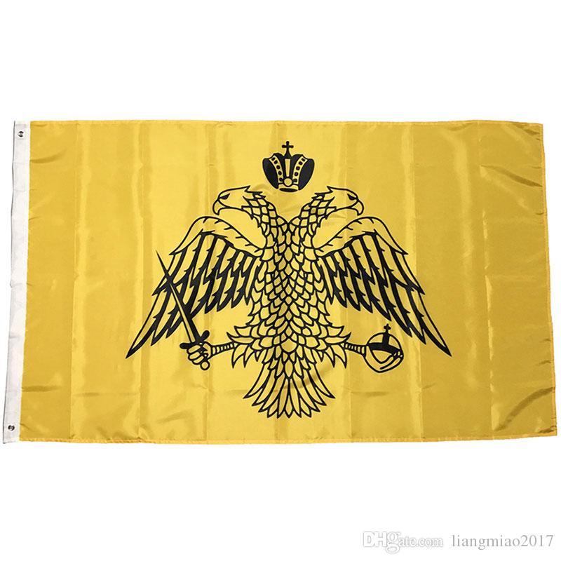 Bandera de la bandera de la iglesia ortodoxa griega de alta calidad 90x150cm 100D poliéster con 2 ojales