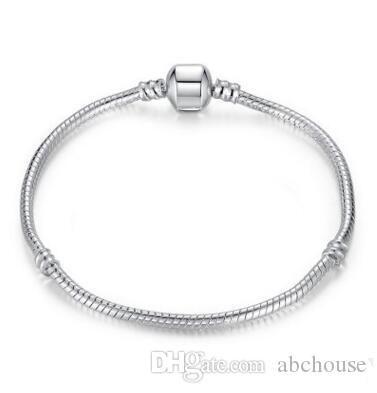 Mix size Retro 925 Silver Bracelet with LOGO 17CM-21CM Snake Chains DIY Jewelry Accessories fit European Style Beads