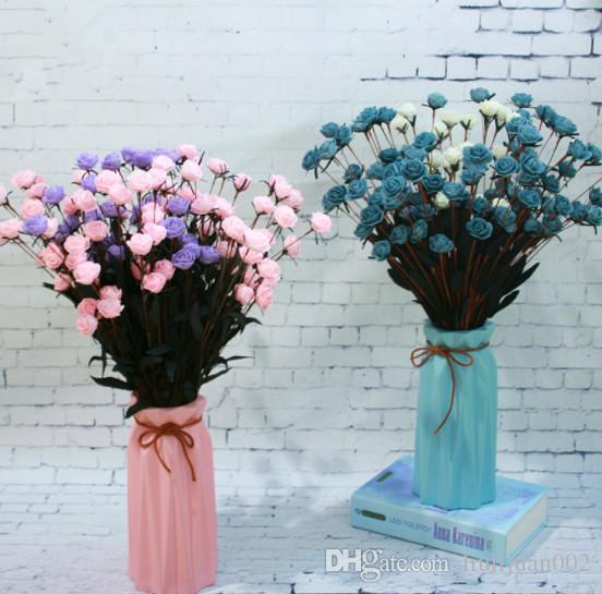 Ramo rosa de simulación 15 rosas pequeñas Flores artificiales de estilo pastoral