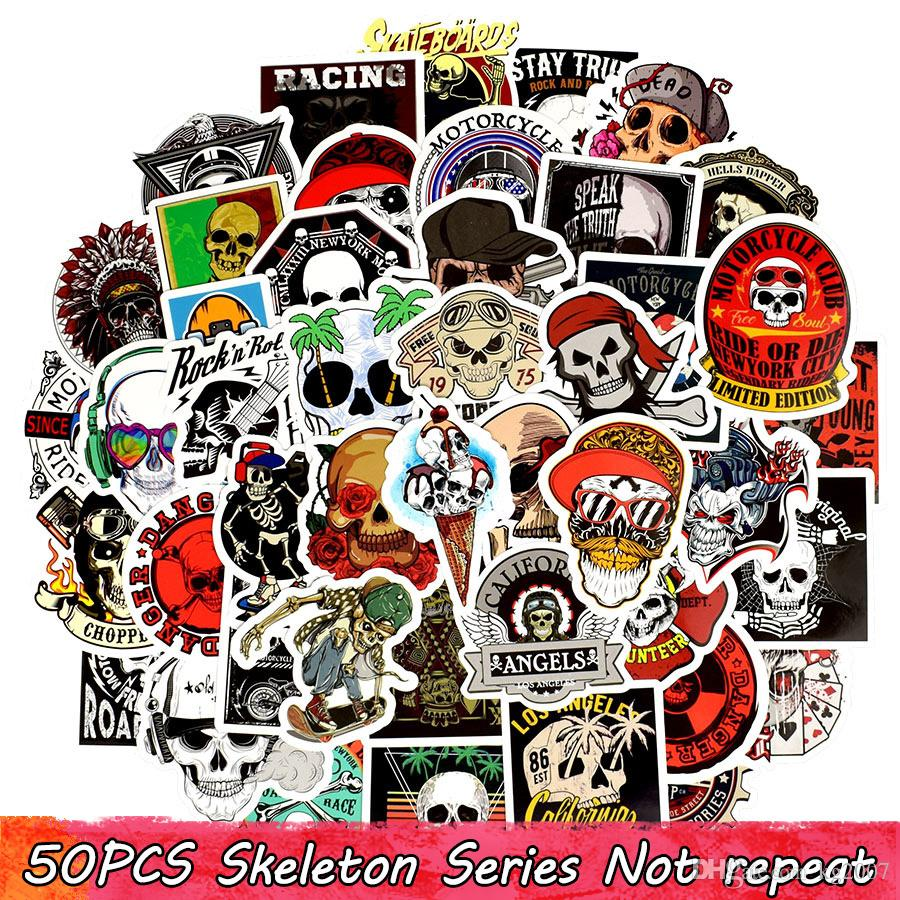 50PCS Punk Skull Vinyl Stickers Bomb Horror Doodle Car Decals Waterproof for DIY Laptop Skateboard Guitar Bicycle Motorbike Decoration Gifts