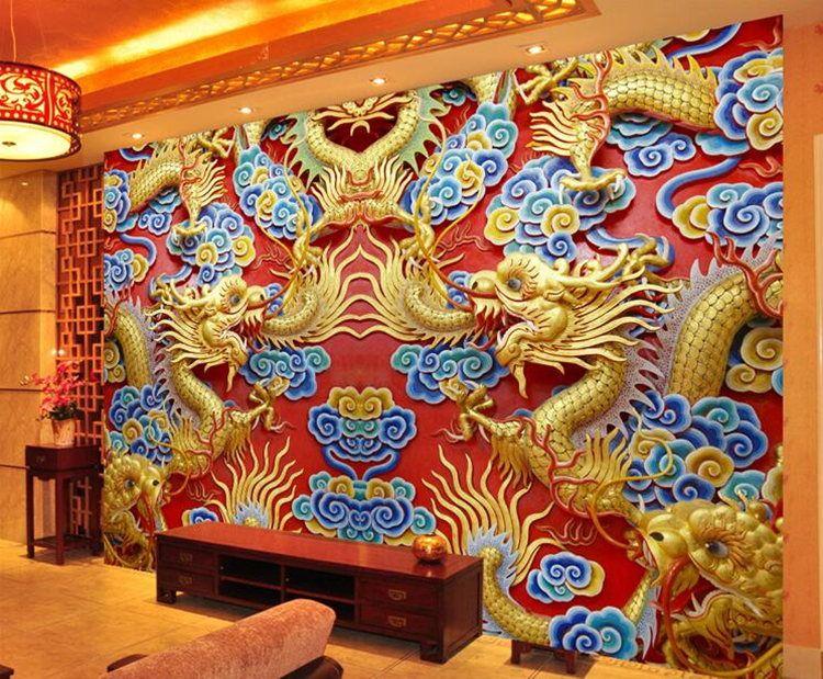 Living room dragon wallpaper hotel lobby 3D stereo visual mural hotel seamless silk cloth embossed large mural
