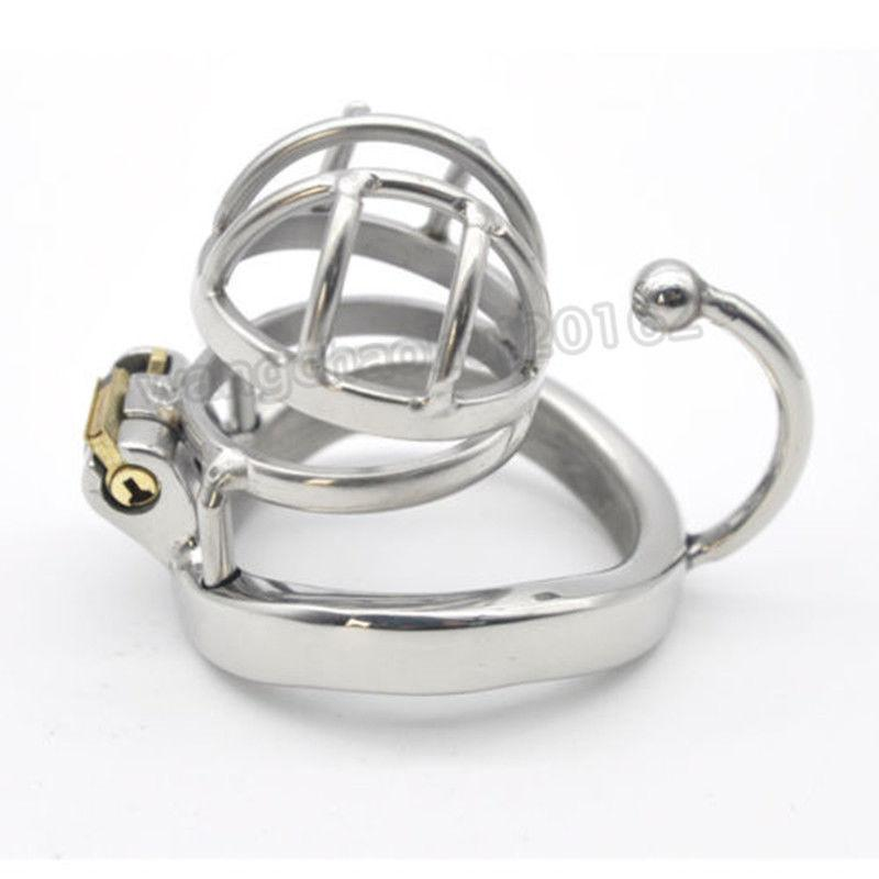 Nuevo macho pequeño de acero inoxidable jaula de pájaros de castidad con dispositivo de pincho de anillo de gancho # R69