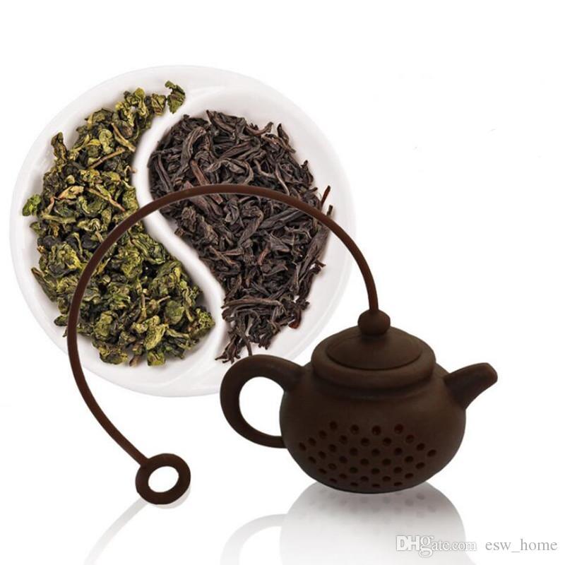 Mutfak Çay Araçları Beyaz Kahve Rengi Gıda Sınıfı Silikon Çaydanlık Şekilli Çay Demlik Çay Süzgeç Yaratıcı Silikon
