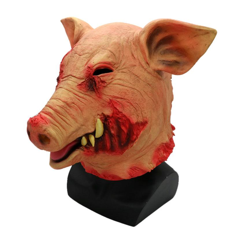 Pig Head Mask Animal Joker Costume Non-toxic Halloween Smoke Pig Cosplay Creepy Animal Prop Latex Party Unisex Scary Props