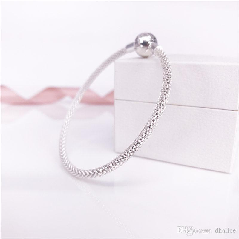 MOMENTS Sterling Silver Mesh Bracelet, S925 Sterling Silver Women Brand Jewelry Fit DIY Beads And Charms