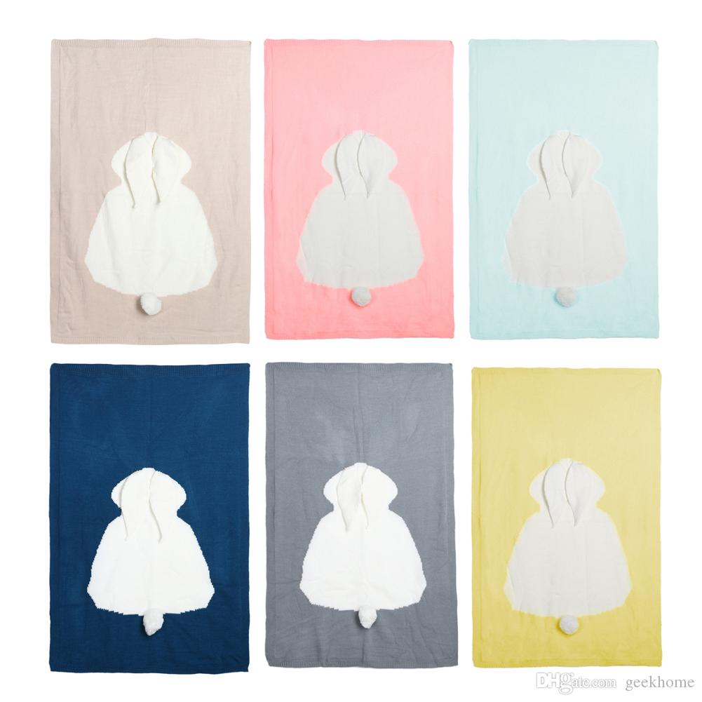 Cartoon Lapin bébé nouveau-né Couverture Swaddle Laine Crochet Tricoté Couverture souple pour enfants emmailloter poussette Couverture de bain Serviette