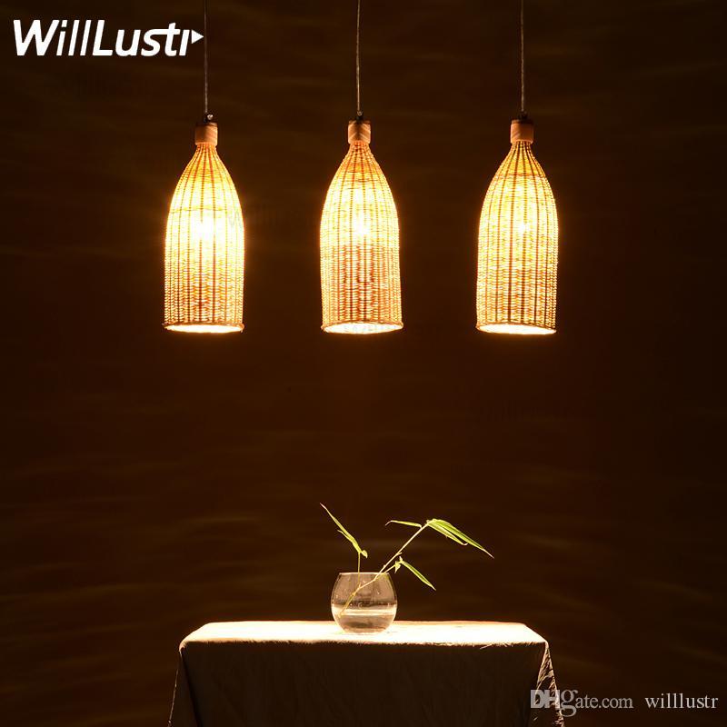 lámpara colgante de bambú hecho a mano natural comedor sala de suspensión luz hecha a mano iluminación de mimbre pasillo del hotel restaurante bar colgar iluminación