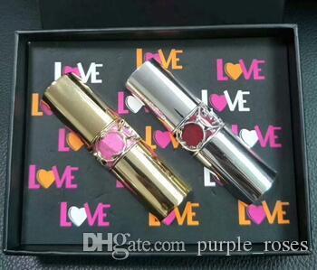 1set = 2pcs Nouvelle marque y tube d'argent tube d'or tube de rouge à lèvres hydratant et nourrissant deux morceaux de rouge à lèvres pleine taille!