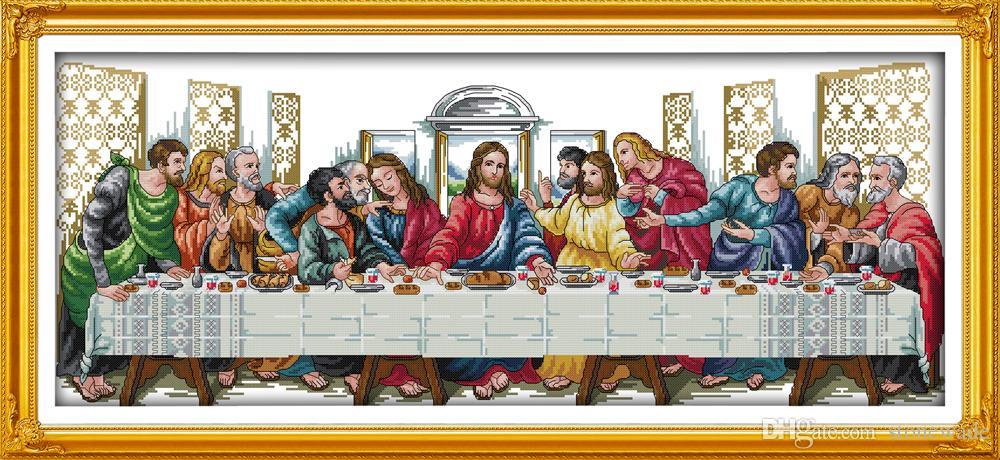 Ostatnia kolacja Jezusa Christian Decor obrazy, ręcznie robione zestawy robótek robótek ręcznie robionych druk na płótnie DMC 14CT / 11CT