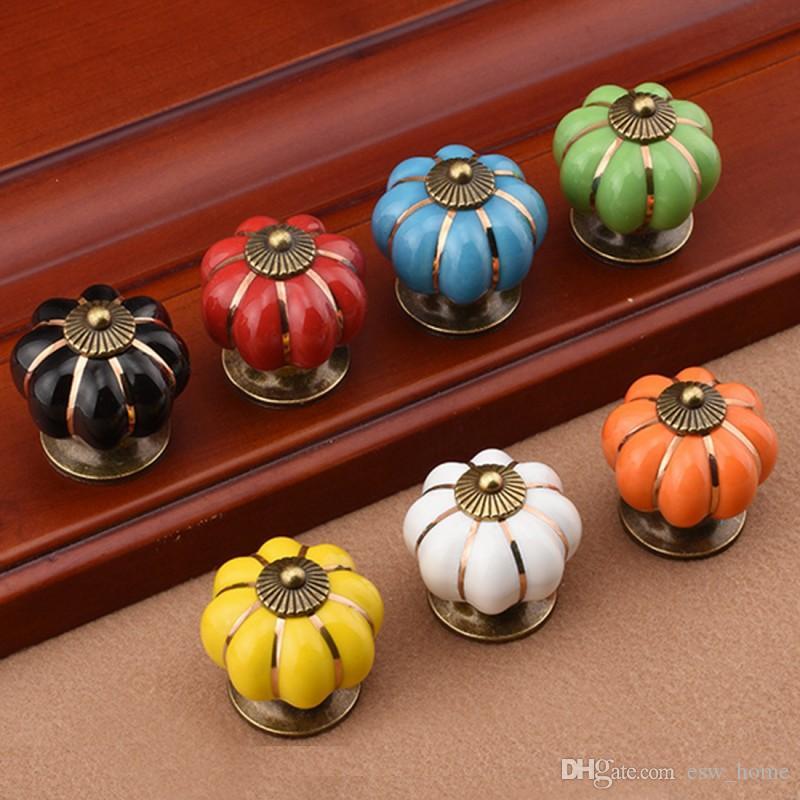 Vintage Furniture Handle Pumpkin Ceramic Door Knobs Cabinet Knobs for Furniture Drawer Cupboard Kitchen Pull Handle Armario
