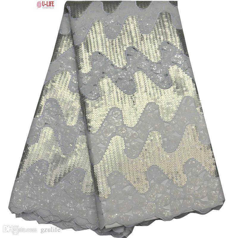 2018 Doppel Organza Spitze Stoffe Hohe Qualität Weiß Pailletten bestickt Organza Stoff umweltfreundlich zum Nähen afrikanische Kleidung F4-860