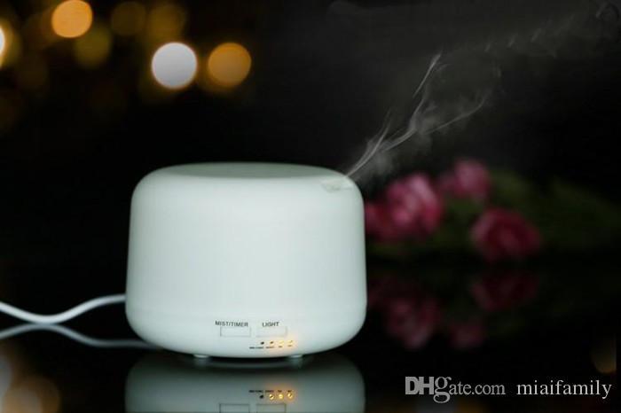 300 ml Ultrasonik Hava Nemlendirici Uçucu Yağ Aroma Difüzör Mist Maker Sisleyici ile 7 Renkler LED Gece Lambası