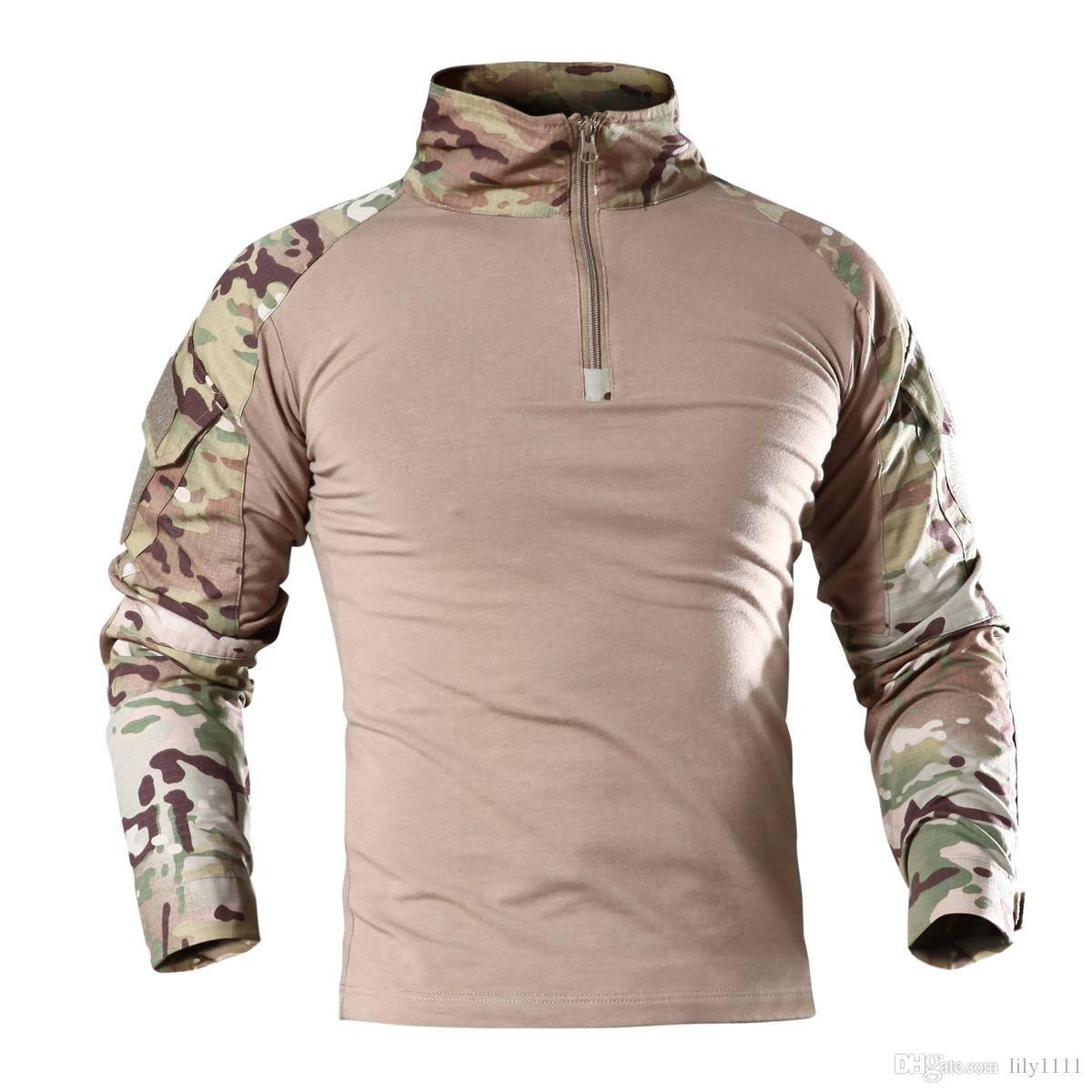 Shanghai Story Top Quality Brand Camouflage Long Sleeve Frog Suit Men Tops Tactical Tool Cargo t Shirt Army Military Combat Tee for men