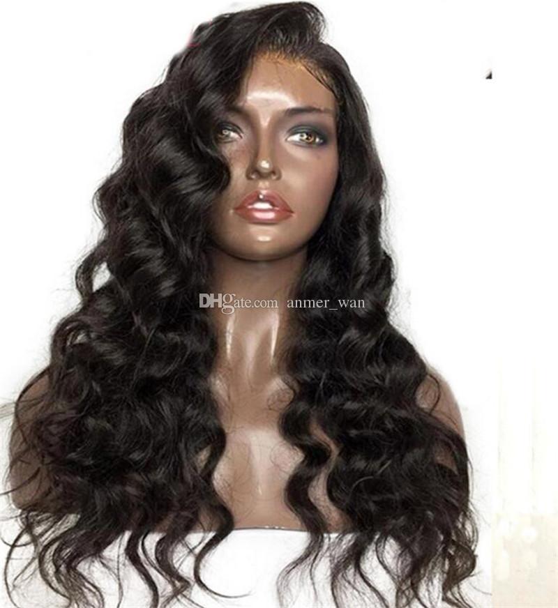 브라질 페루 말레이시아 인디언 캄보디아 버진 레미 인간의 머리카락 전체 레이스 가발 바디 웨이브 레이스 프론트 가발 여성을위한 자연 블랙