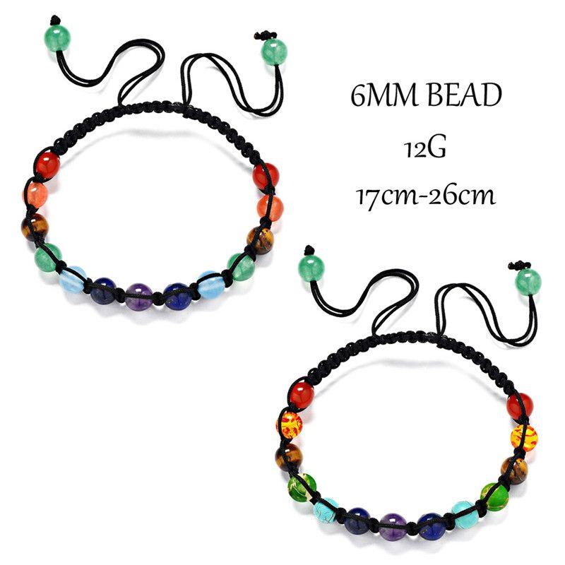 13 6MM natural stone beads amethyst red agate braided bracelet yoga seven chakra bracelet energy aura 7chakra couple bracelet free shipping