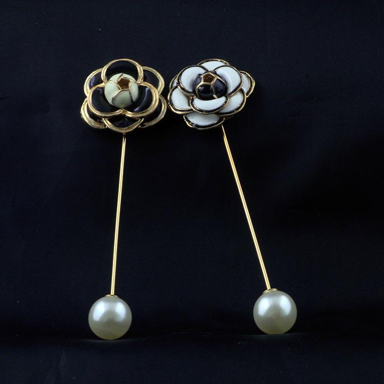 Brooches Jewelry Camellia Pearl Flower Brooch Female Sweater Big Pin Retro Corsage Collar Pin Jewelry Hot Sale