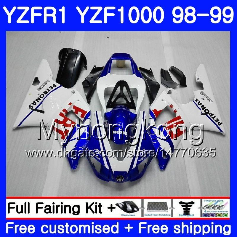 Carrocería para YAMAHA YZF R 1 YZF1000 YZF-R1 1998 1999 Marco blanco azul caliente 235HM.32 YZF-1000 YZF R1 98 99 YZF 1000 YZFR1 98 99 Cuerpo carenado