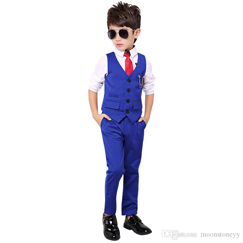 Brand Boys Formal Tuxedo Dress Suits kids Weeding Sets Vest Pants 2pcs Children Flower Boys Birthday Costumes Clothing Set N48