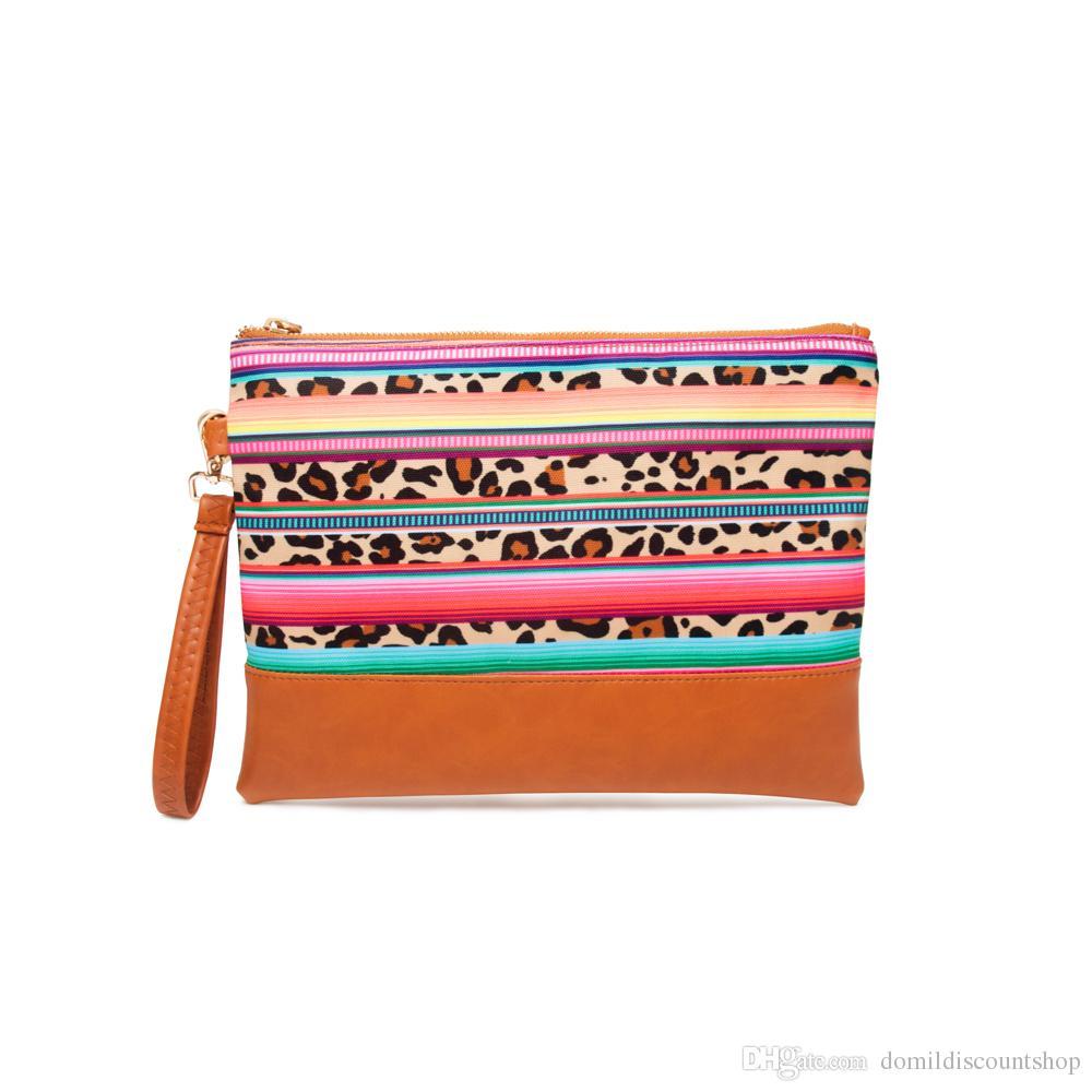 2019 fashion brand case 24.5cm*15cm Stripe Leopard Clutch Wholesale Blanks Leopard Canvas Wristlet Purse Stripe Pounch Cosmetic Bag DOM1069