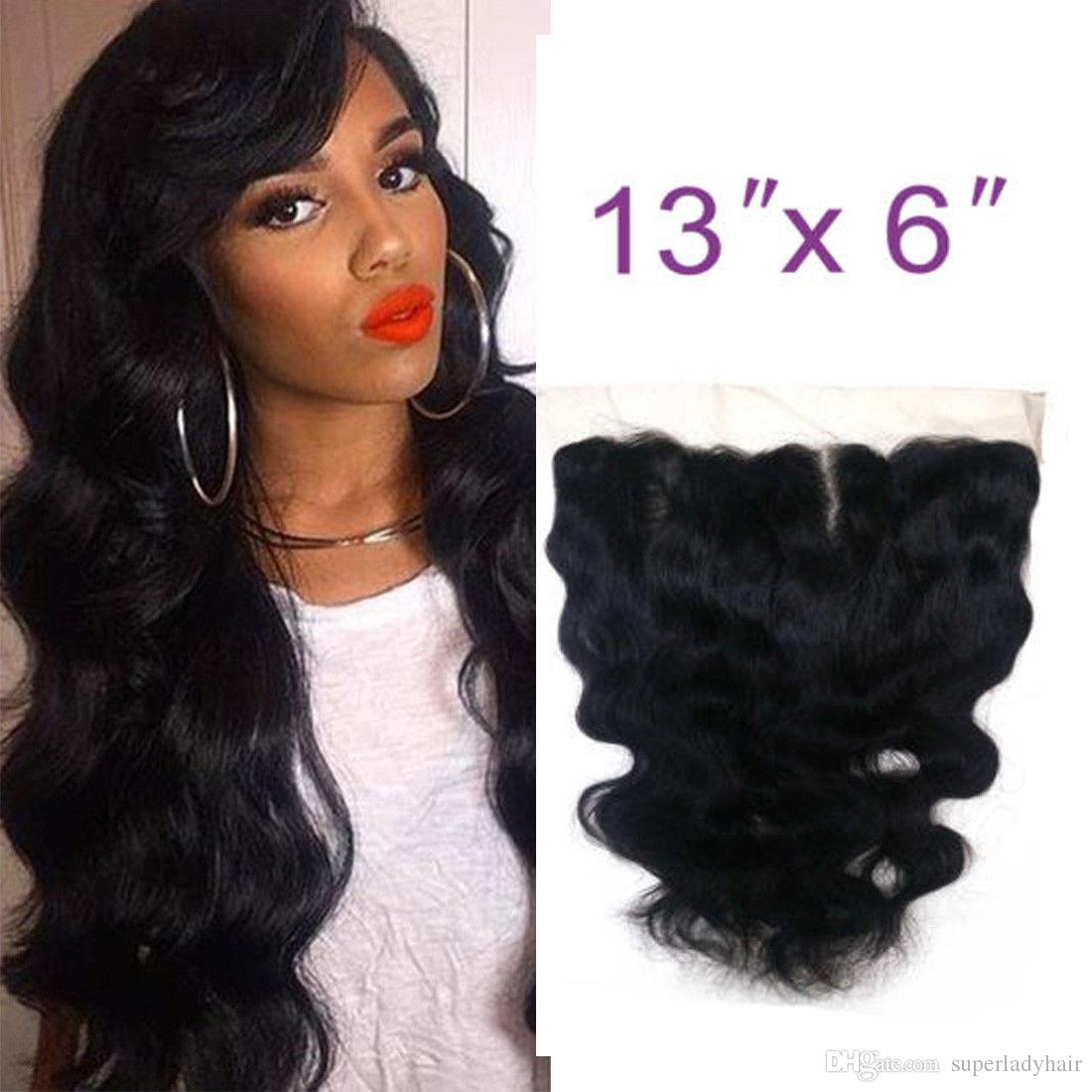 "13""x6"" Lace Frontal Closure Brazilian Hair body wave 100% Human Hair Weave hair closures"