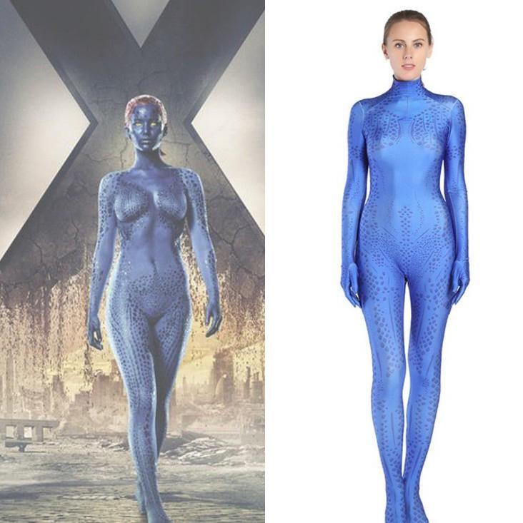 x-men cosplay x men costumes women mystique Spandex Halloween raven cosplay teen titans Darkholme Zentai Bodysuit Suit Jumpsuits