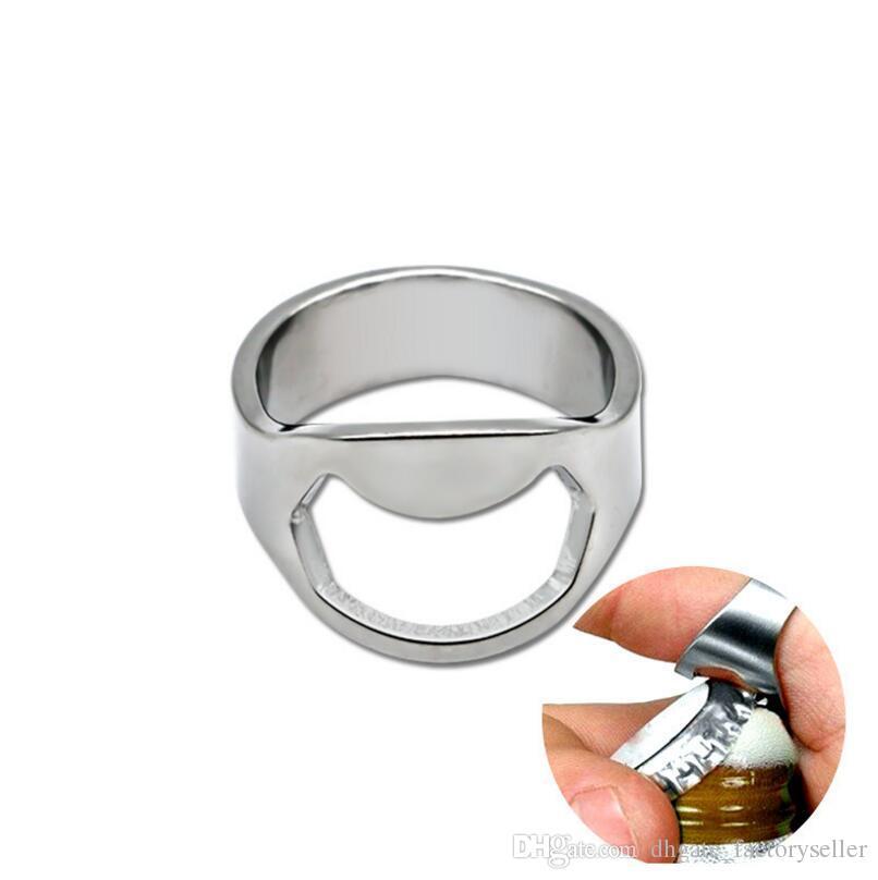 Favores del partido del abrelatas de botella del anillo del dedo de la herramienta de la barra de la cerveza del acero inoxidable del color de plata (24mm-22m m) LX3306