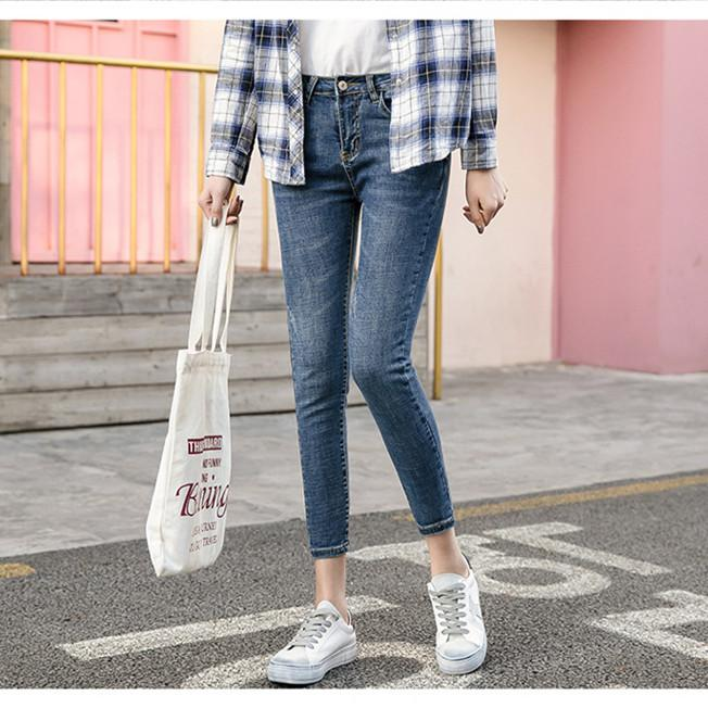 2018 Spring Women Denim Pencil Pants Full Length Skinny Blue Women Jeans Slim Fit Casual 2018 Fashion Clothes RWP185010