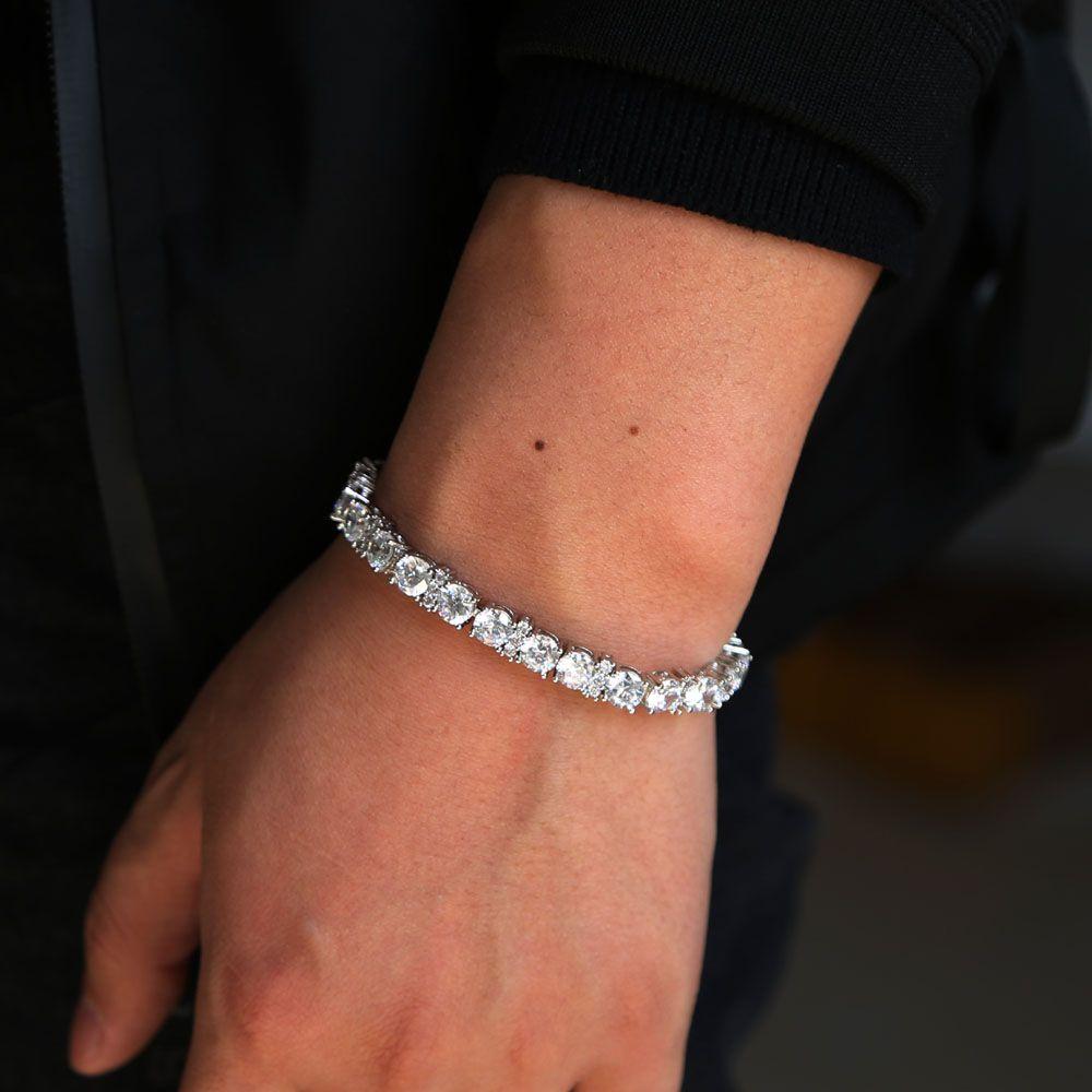 2018 مختبر سوار الماس الاشتباك مكعب زركونيا سلسلة تنس السيدات الرجال زفاف زوجين الفضة مطلي مثلج خارج بلينغ مجوهرات