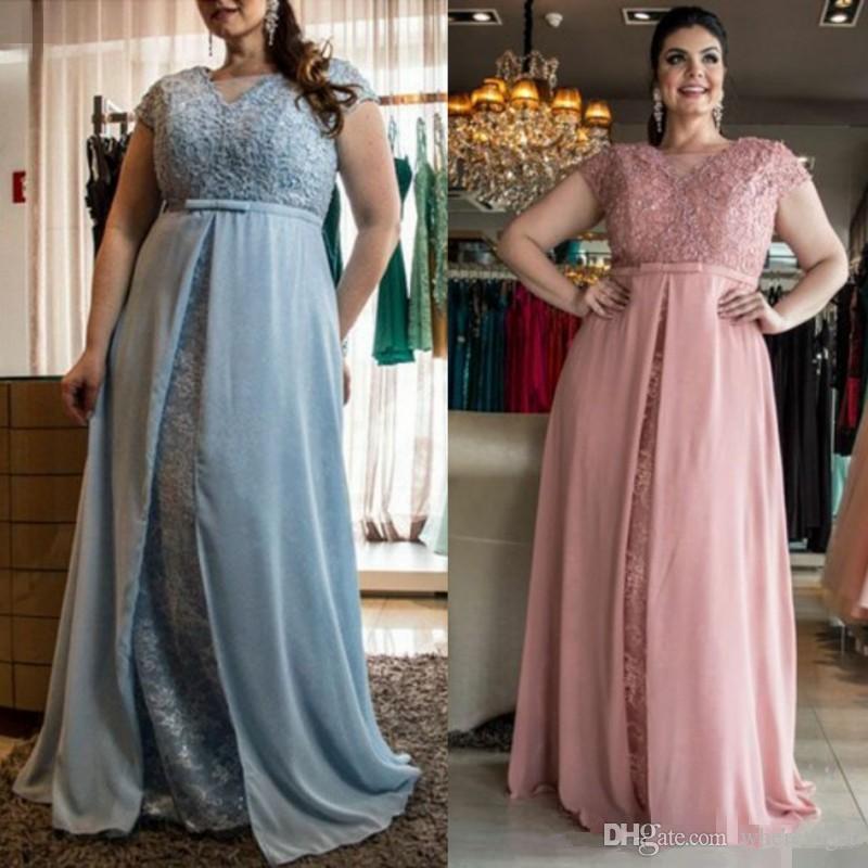Compre 2019 Modern Vestidos Mãe Plus Size Bainha Mangas Apliques Chiffon Até O Chão Mãe Da Noiva Do Noivo Formal Vestidos Para Casamentos De