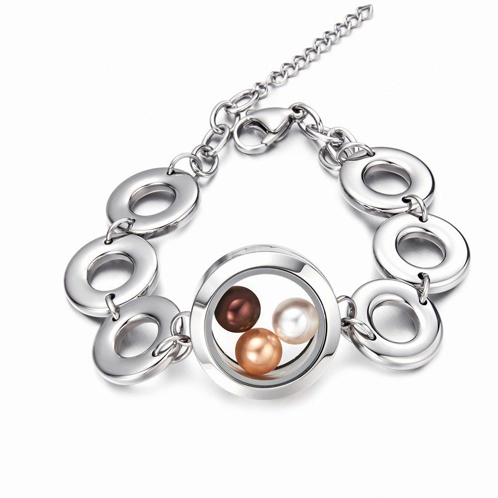 2018 Newest 316 l Stainless steel Glass locket pendant girls bracelet for fitting 8mm pearl