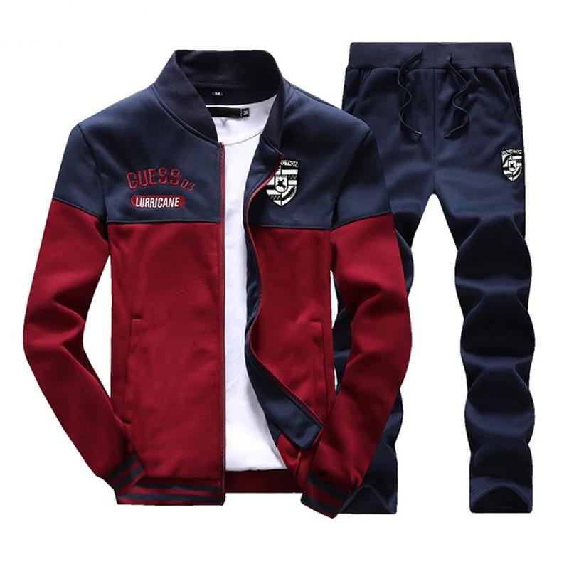 New Men Sets Fashion Autumn Spring Sporting Suit Sweatshirt +Sweatpants 2 Pieces Mens Clothing Slim Male Tracksuit