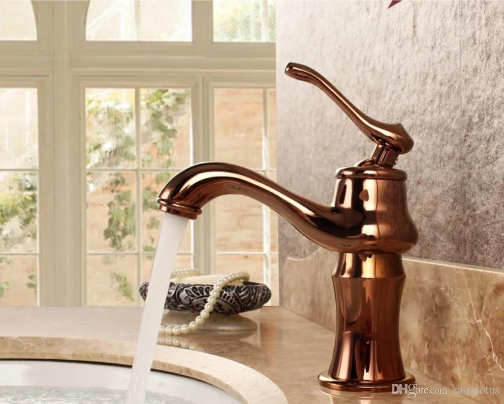 Image of: 2020 Bathroom Faucets Bronze Rose Gold Color Faucet Brass Bath Basin Mixer Tap With Hot And Cold Water Mixer Tap Sink Crane From Saintlotus 68 18 Dhgate Com