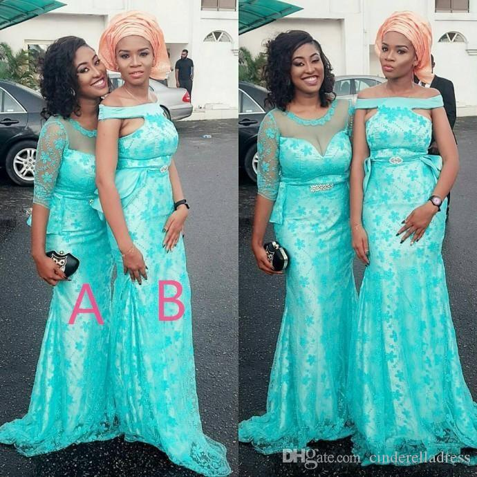 Turquoise Mix Styles Arabic Bridesmaid Dresses For Wedding Lace Covered Satin Mermaid Maid Of Honor Gowns Women Prom Party Dresses