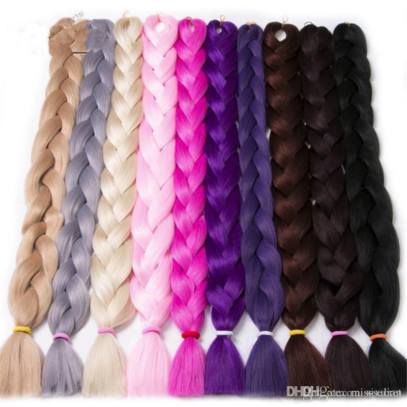 165g / Piece 순수한 색의 크로 셰 뜨개질 점보 머리 머리 41 인치 머리 장식 섬유 합성 머리카락 연장