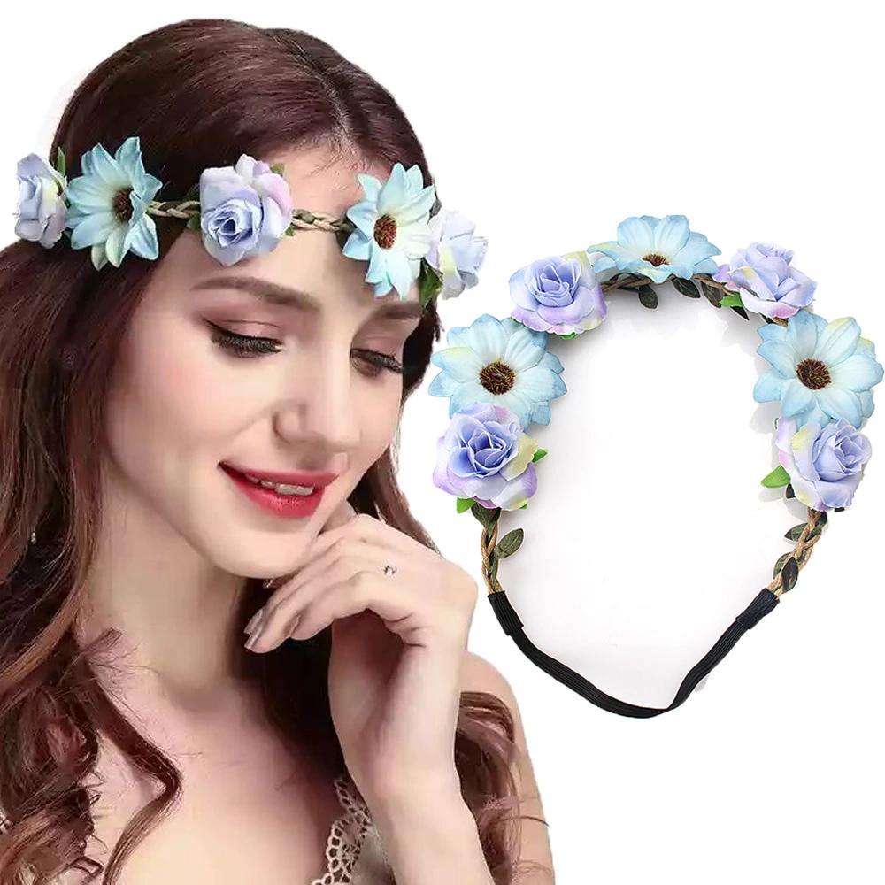 Bride Flowers Headband Bohemian Rose Flower Crown Headband Ladies Elastic Beach Hair Accessories,1