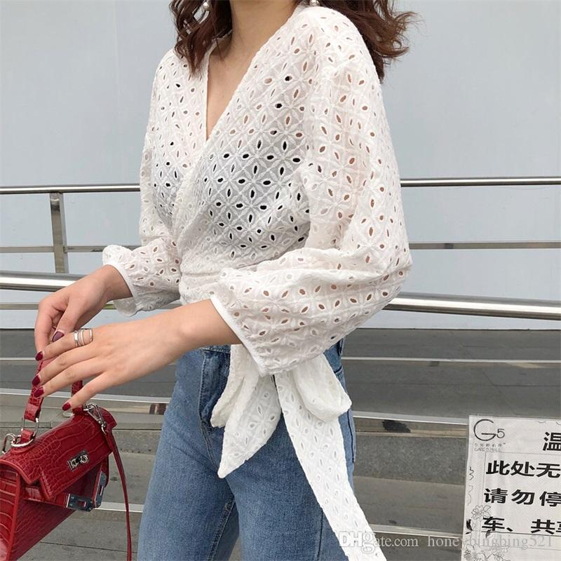 cime della camicia camicetta manica corta lunga sottile allacciatura in vita benda scavano fuori tessuto 2018 nuovo design v-collo moda femminile