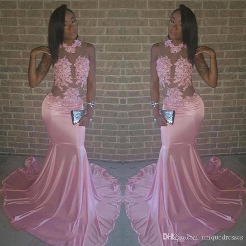 Abiti da ballo rosa africani lunghi 2018 Sexy vedere attraverso appliques in pizzo Sirena in rilievo Sweep Train Abito da sera formale Usura per feste