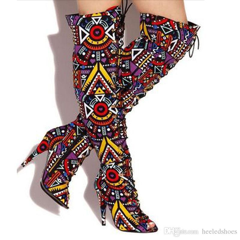 Mujeres atractivas Multi Play Funcion High Boots Stiletto Tacones altos Lace Up Señoras Peep Toe sobre Rodilla Colores Mixtos Largo Caballero Botas