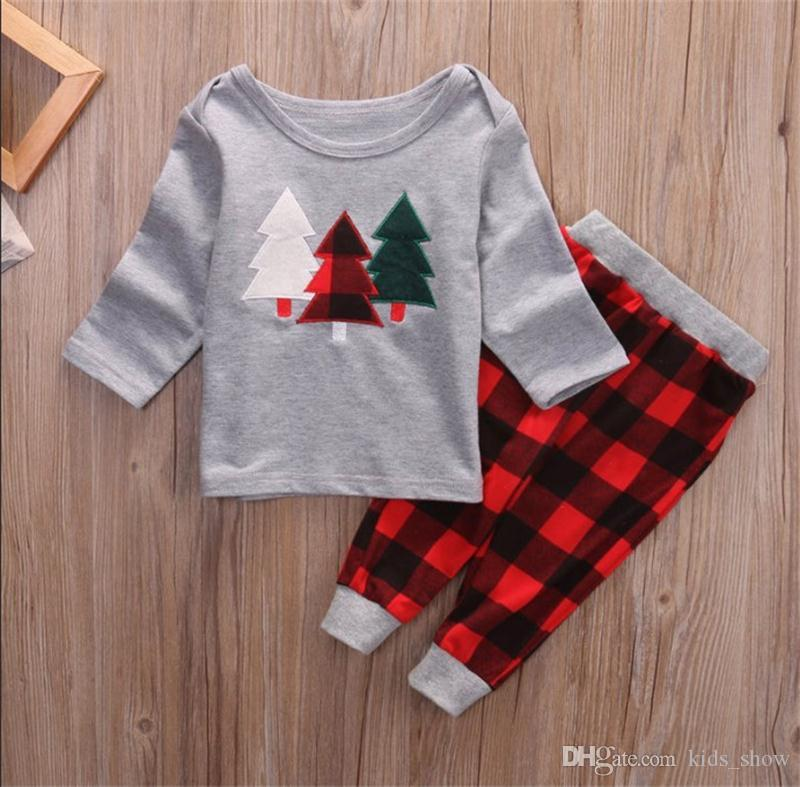 Toddler Baby Boys Christmas Tree Print Long Sleeve Tops Plaid Pants Clothes Set