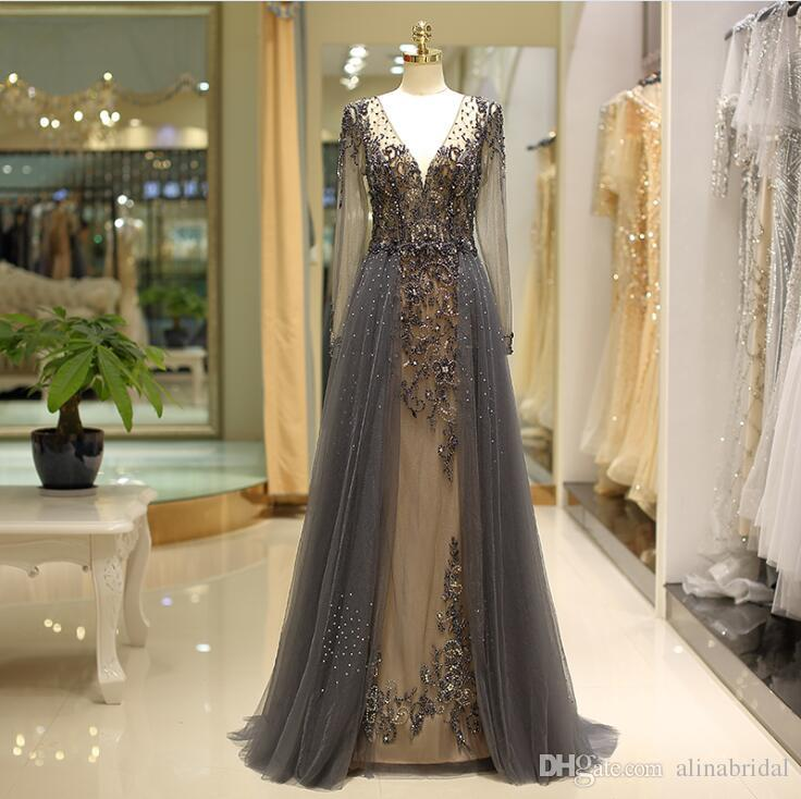 2019 long sleeves dark gray V-neck formal evening dresses beading A-line prom dress long elegant Formal mother of bride dresses 80722