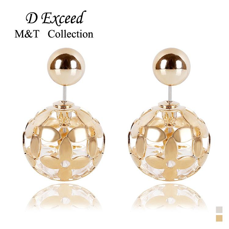 Fashion Females Jewelry Exquisite Hollow Beads Stud Earrings for Women Silver/gold Alloy Balls Earrings Bohemian Brincos
