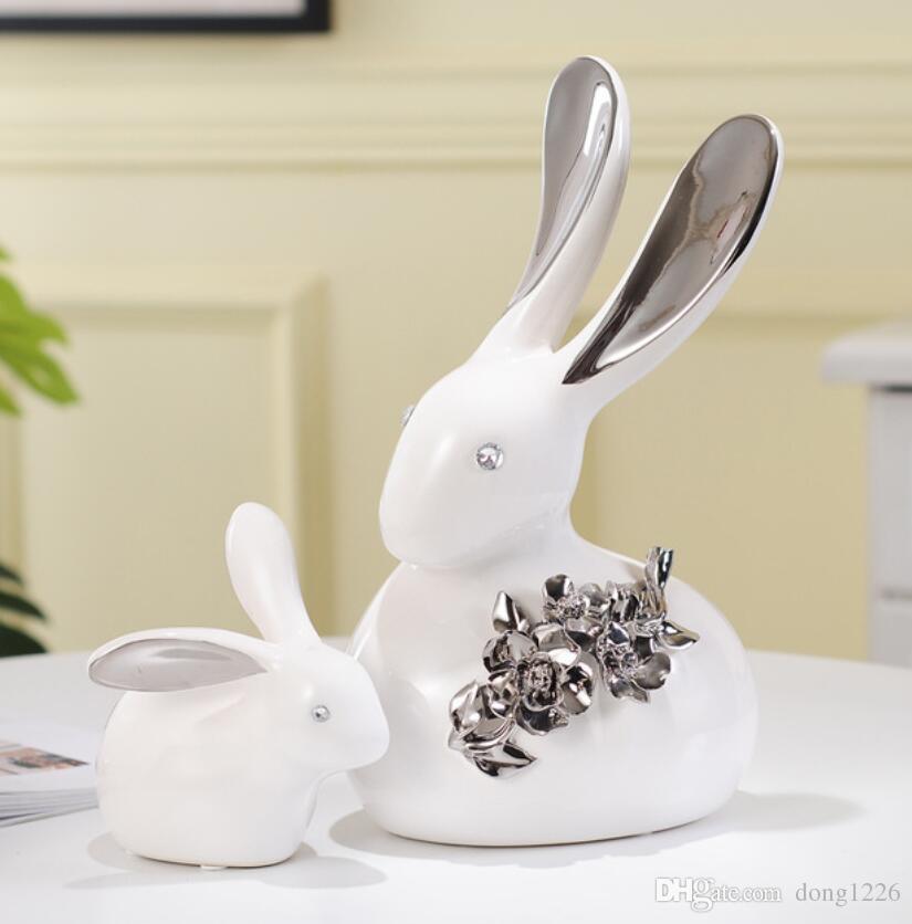 creativo bianco argento ceramica coniglio statua artigianato arredamento casa decorazione della stanza porcellana figurine animali decorazione della ...