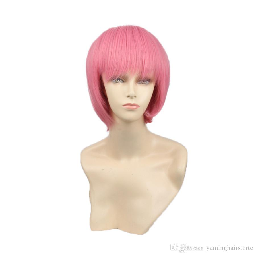 합성 가발 밥 가발 핑크 짧은 코스프레 가발 유행 유럽의 백인 여성 짧은 가발 자연 찾고 핑크 합성 피치 여성을위한