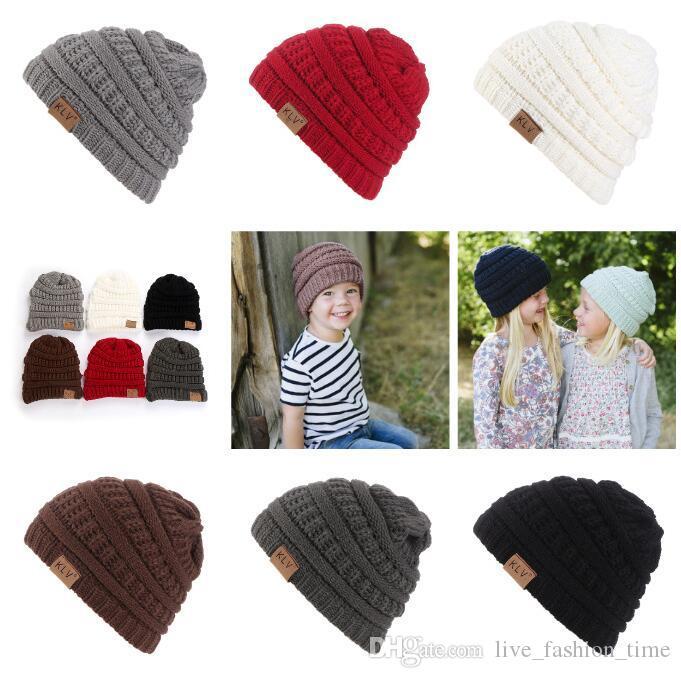 KLV New Design Winter Hats For Kid Knit Beanie Baby Hat Children Warm Pom Pom Hats for Boys Girls Handmade Newborn Knitted Cap Skullies