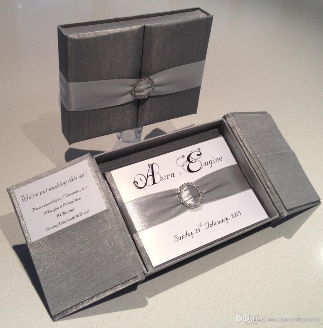 Royal Silver Silk Box Wedding Invitation Gate Fold Satin With Rhinestone Pair Buckle And Paper Mail