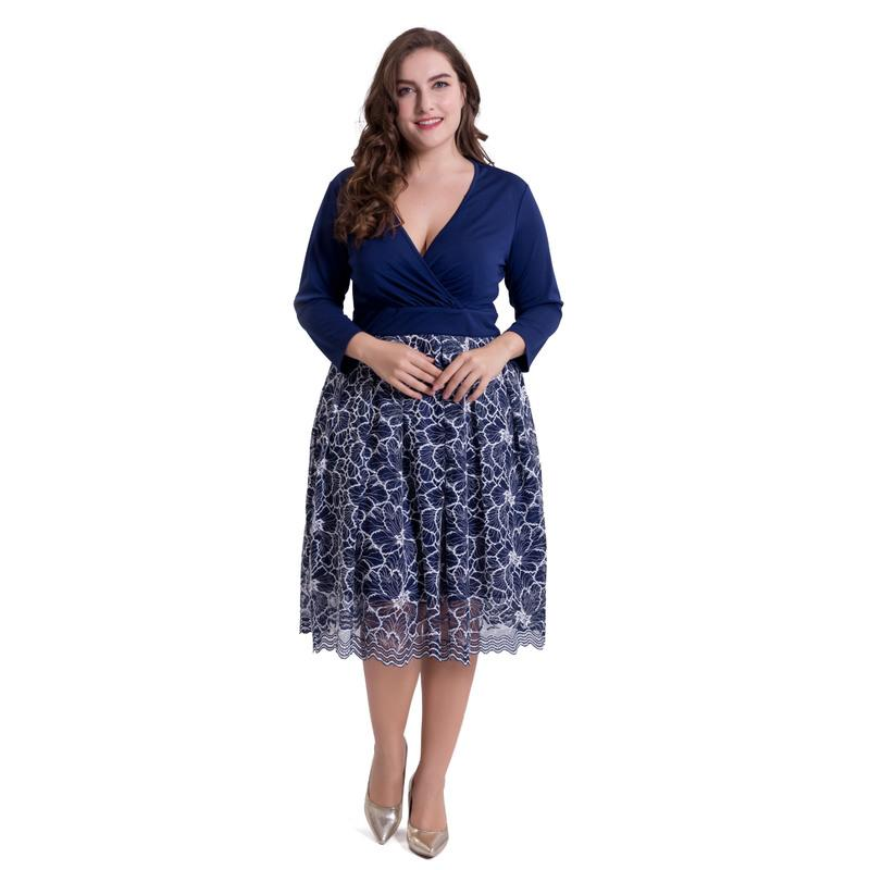 5XL Plus Size Dress Women Spring Summer 2018 Lace Elegant Office Party Blue  Straight Women\'S Dresses Fashion Large Size Vestidos Sundress For Women ...