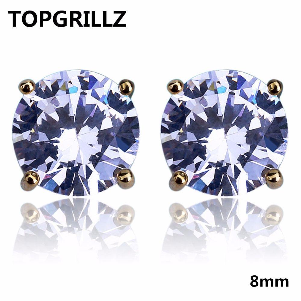 TOPGRILLZ Hip Hop Bling Bling orecchini con vite posteriore oro / argento colore Micro pavè 8mm CZ orecchini in pietra regalo per Mem